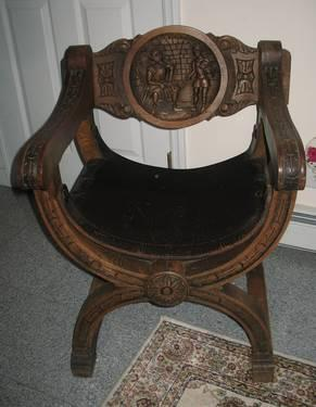 throne chair cover high back lounge vtg rustic primitive dark wooden hand carved leather seat for sale in lew beach ...