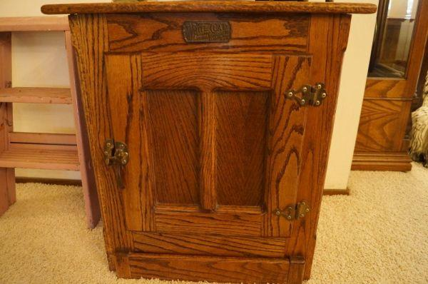 White Clad Antique Ice Box End Table For Sale
