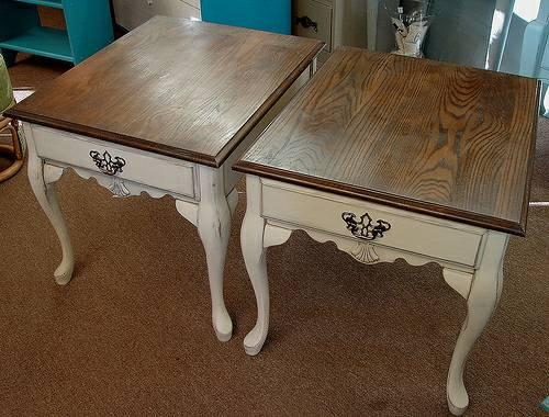 White Painted Accent Tables Nightstands W Natural Wood Top