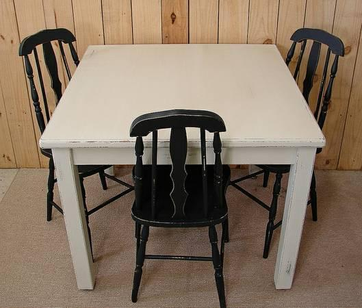 WhitePainted Shabby Distressed Dining Table for Sale in