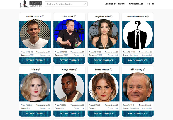 A screenshot from the website of CryptoCelebrities
