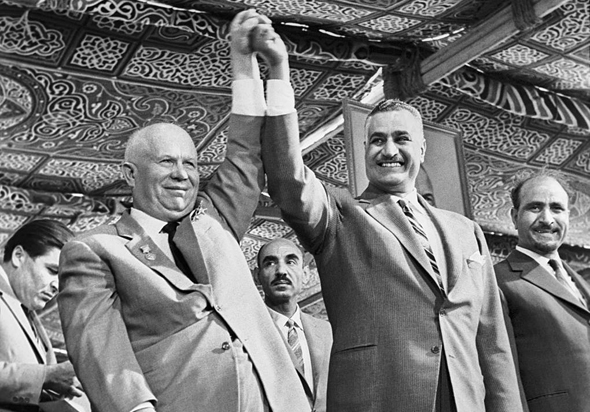 Strong together. Nasser and the leader of the Soviet Union, Nikita Khrushchev
