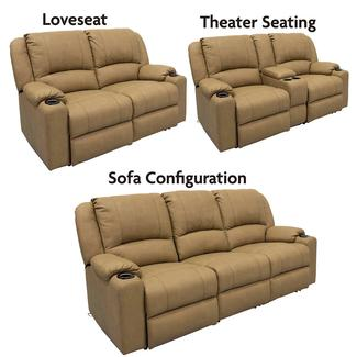 dual reclining rv sofa leather cream furniture camping world seismic series modular theater seating