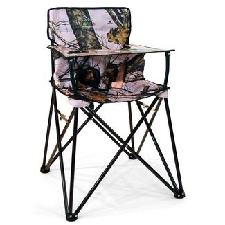 baby camp chair serta lift reviews kids camping chairs portable high world go anywhere highchair pink mossy oak