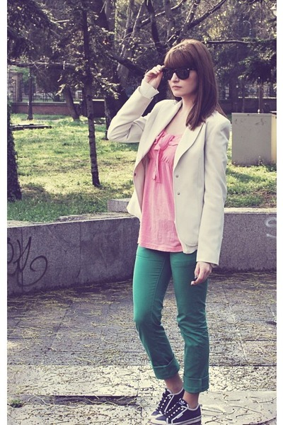 ivory Mango blazer - turquoise blue unknown brand pants - navy adidas sneakers -