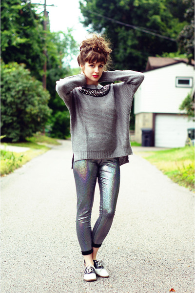 heather gray white crow sweater - silver holographic Thrifted & Modern leggings