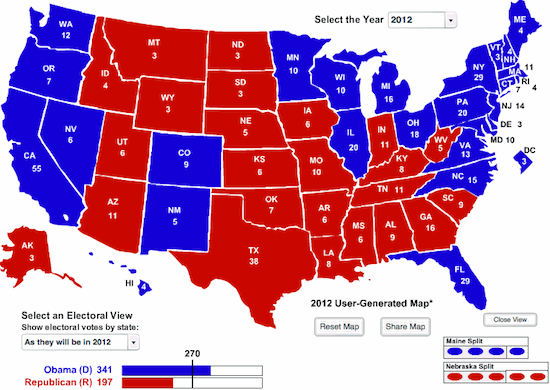 Electoral map, Obama 341 electoral votes, Romney 197