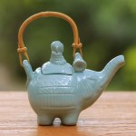 Handmade Blue Ceramic Teapot Buddha And The Turquoise Eleph Novica