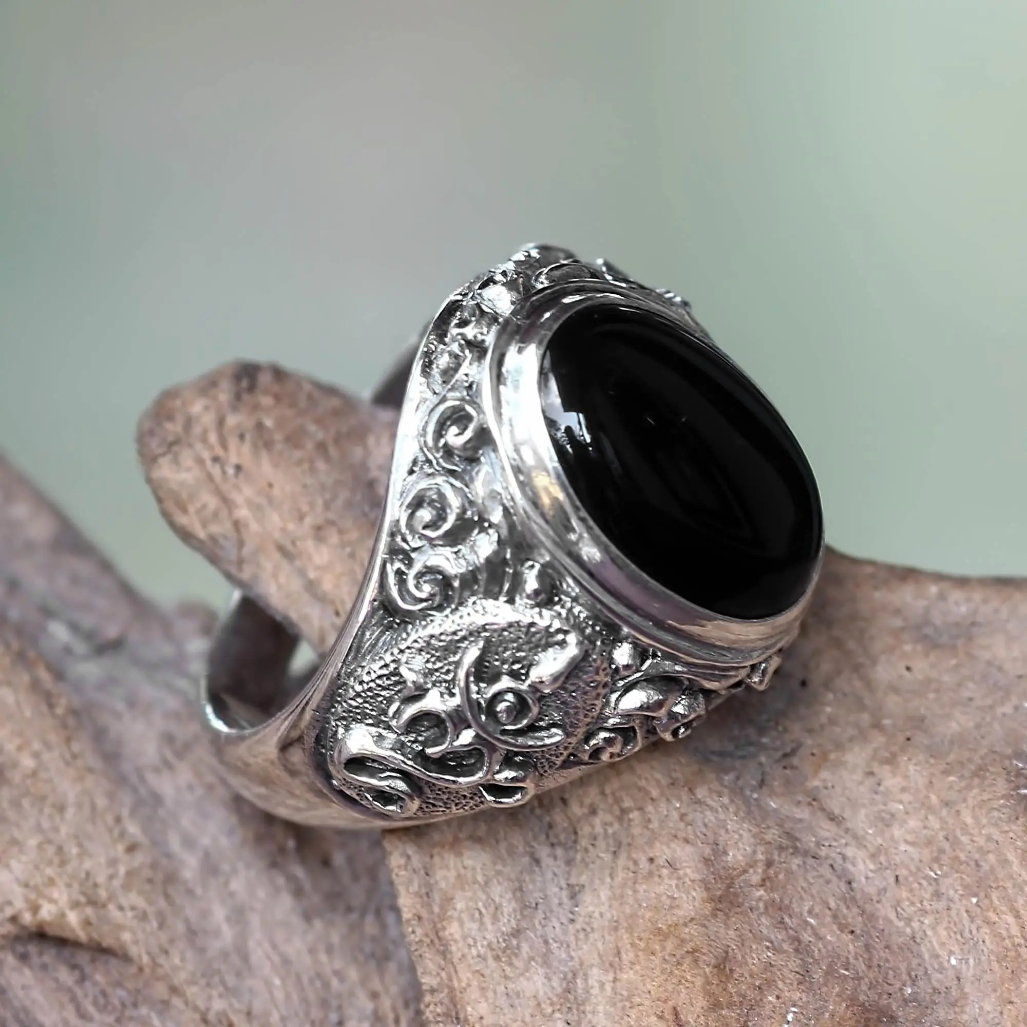 Unicef UK Market Handcrafted Onyx And Sterling Silver Om