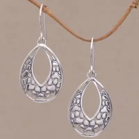 Sterling Silver Paw Print Dangle Earrings from Bali