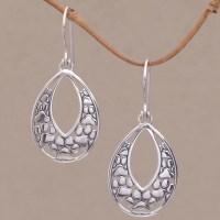 Sterling Silver Paw Print Dangle Earrings from Bali - Paw ...