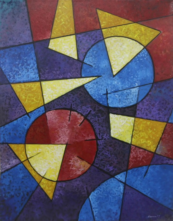 Unicef Market Artist Signed Geometric Abstract Painting