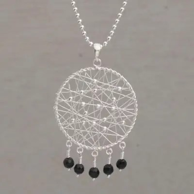 Onyx and 925 Silver Dream Catcher Pendant Necklace fro