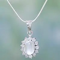 Moonstone pendant necklace, 'Dazzle'