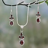 Jewelrypalace Garnet Ring Pendant Earring And A Gift Chain Diana Jewelry Set Pure 925 Sterling Silver