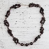 Smoky quartz beaded necklace, 'Evening Romance' (India)