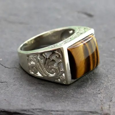 Hand Crafted Sterling Silver And Tiger Eye Mens Ring