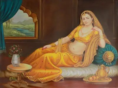 Alwar Girl Wallpaper Romantic Rajasthani Mughal Portrait Painting The Lonely