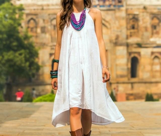 White Cotton Sundress Indian Summer Indian Smocked White Cotton Sundress For Women