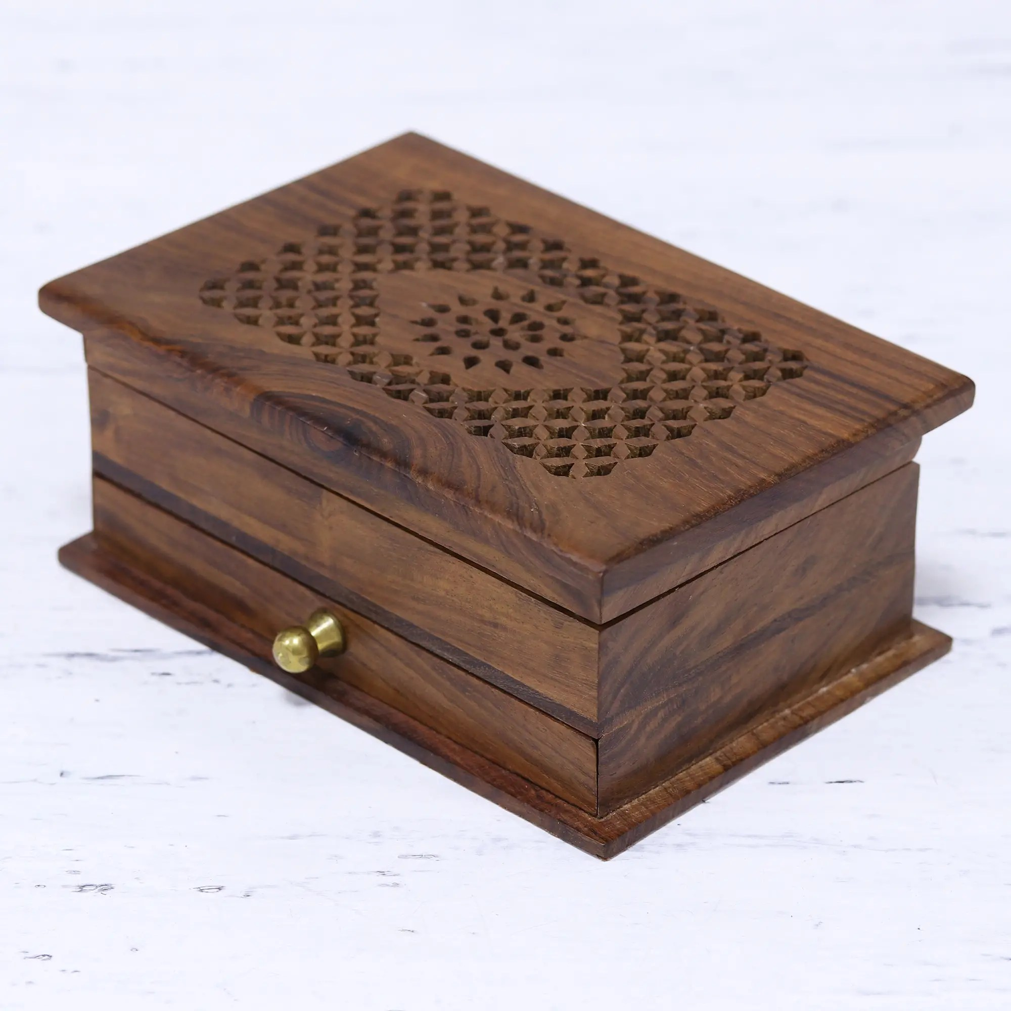 handmade floral jali acacia wood jewelry box from india floral dignity