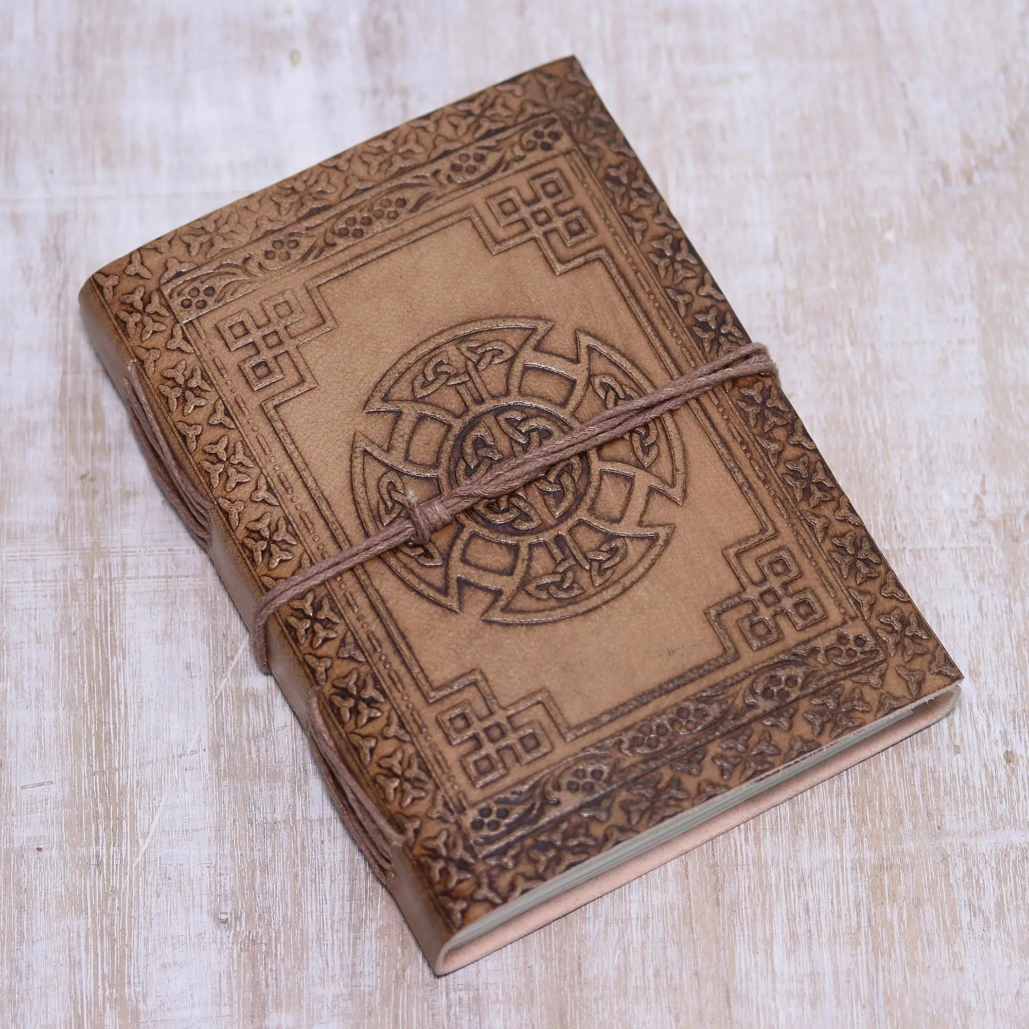 hight resolution of handcrafted celtic cross embossed brown leather journal celtic connections
