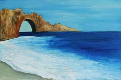 blue impressionist seascape painting