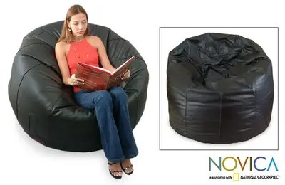 bean bag chair covers ideas for old wooden folding chairs leather beanbag cover single comfort novica