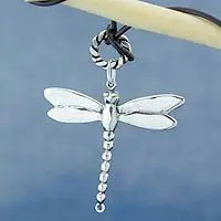Sterling silver pendant necklace, 'Gossamer Dragonfly' (Mexico)