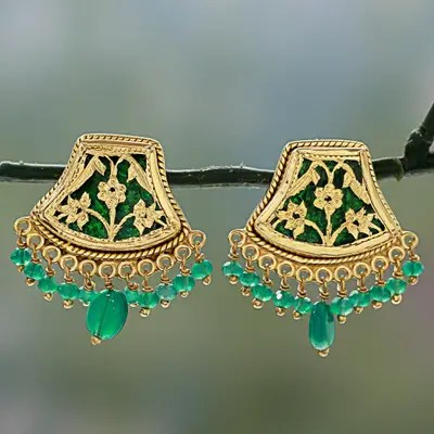 Gold Plated Onyx Chandelier Earrings Green Glamour Handmade Sterling Silver