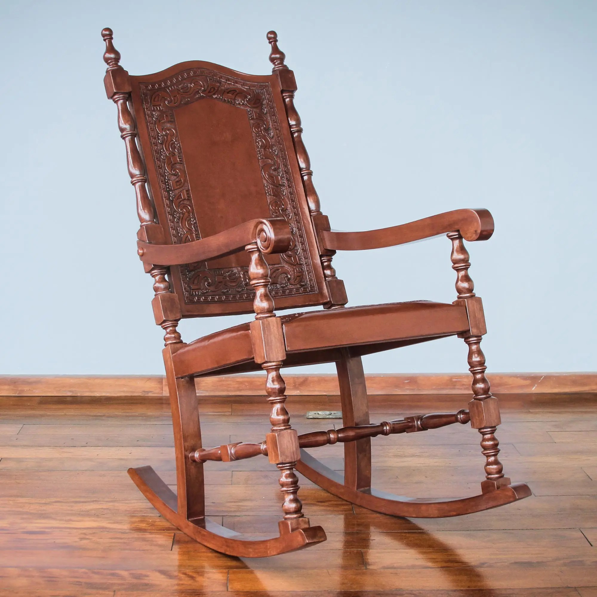 Leather Rocking Chair Inca Leather Wood Rocking Chair Inca Aristocrat