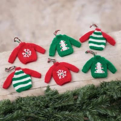 Knit Mini Sweater Ornaments From Peru Set Of 6 Christmas Comfort Novica