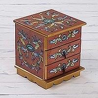 Painted glass jewelry box, 'Autumn Magic'