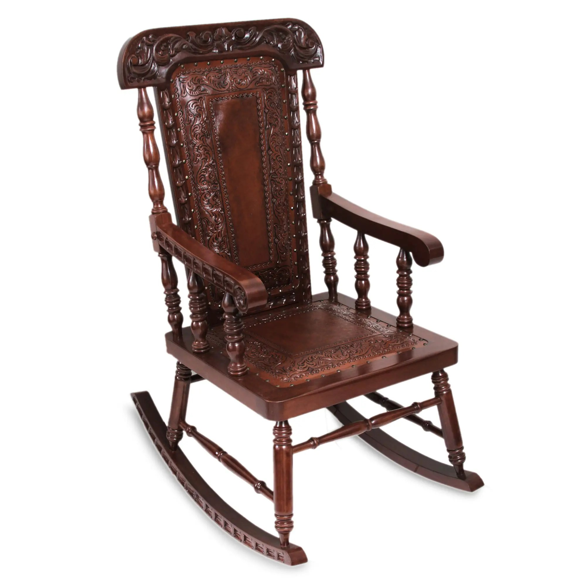 Unicef UK Market  Traditional Wood Leather Rocking Chair