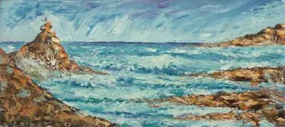 original seascape painting with