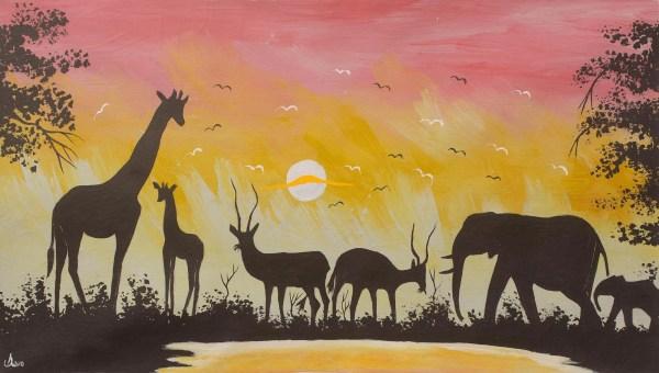 Unicef Uk Market Acrylic Painting Of African Animals