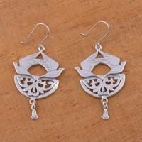 Sterling silver dangle earrings - Songbirds   NOVICA