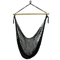 Black Nylon Hammock Swing Chair Handmade in Mexico