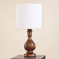 Parota Wood Table Lamp with Jute Lampshade - Acanthus ...