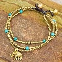 Brass beaded bracelet, 'Thai Elephant Charm' - Brass Bracelet Turquoise-color Gems Beaded Jewelry