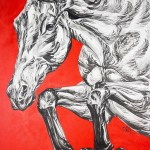 Unicef Uk Market Black And White Horse Painting On Textured Red Canvas Running