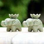 Elephant On Lotus Design Clay Incense Burner Incense Burners