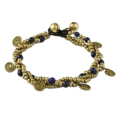 A brass and lapis lazuli bracelet, made in Thailand