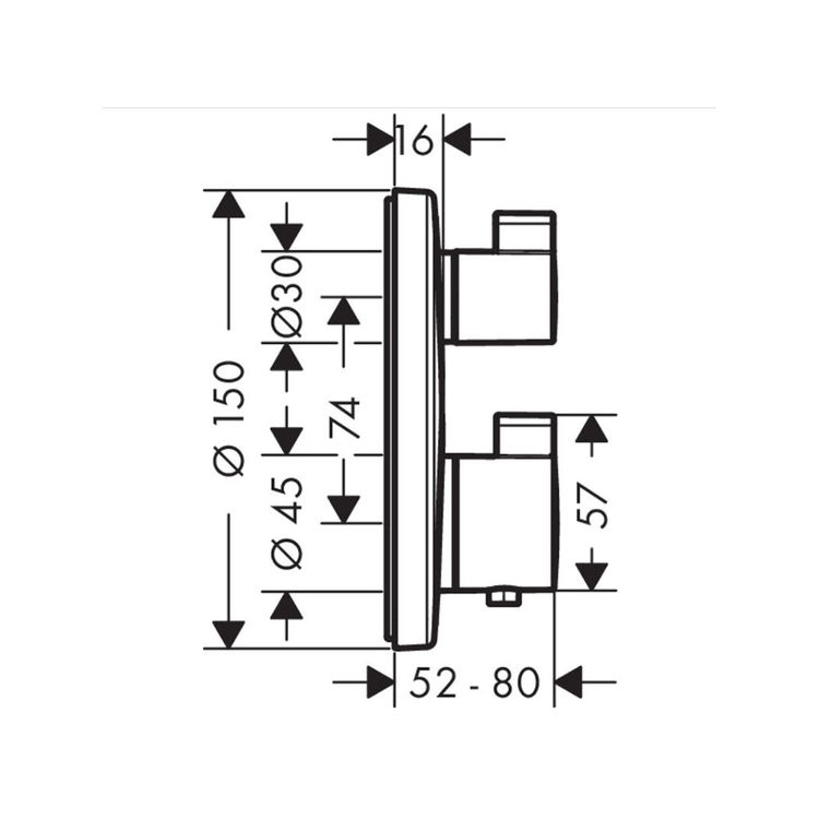 Hansgrohe 15757001 Ecostat S Thermostatic Trim With Volume