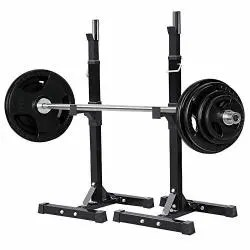 yaheetech pair of adjustable squat rack standard solid steel squat stands barbell free press bench home gym portable dumbbell racks stands 44 70 r