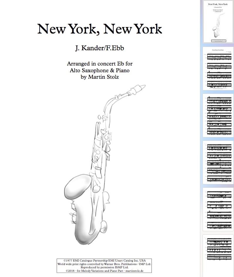 New York, New York for Alto Saxophone & Band/Piano