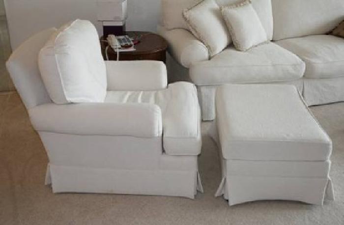 125 White overstuffed Chair  Ottoman for sale in Boca Raton Florida Classified  ShowMeTheAdcom