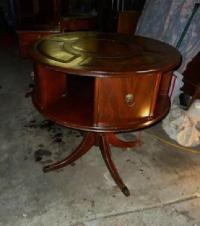 $175 Antique Leather Top Revolving Game Table Claw Feet