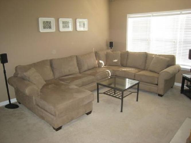 leather sofa atlanta ga custom made nyc $1,500 macy's light brown suede 3 piece sectional ...