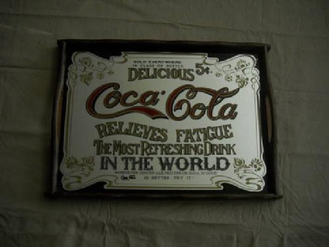 30 Vintage wooden Coca Cola mirrored serving tray for