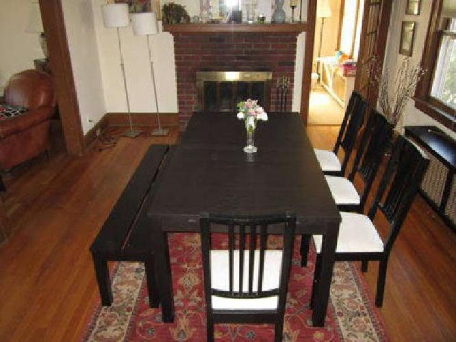 dining set with bench and chairs wheeless office chair $350 ikea table, for sale in chatham, new jersey classified ...